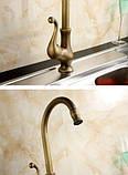 Смеситель кран на кухню для мойки бронза 0092, фото 3