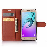 Чехол для Samsung Galaxy J5 2016 J510 книжка кожа PU коричневый