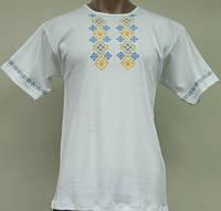 Трикотажная белая мужская вышиванка футболка, интерлок, р.р.44-58