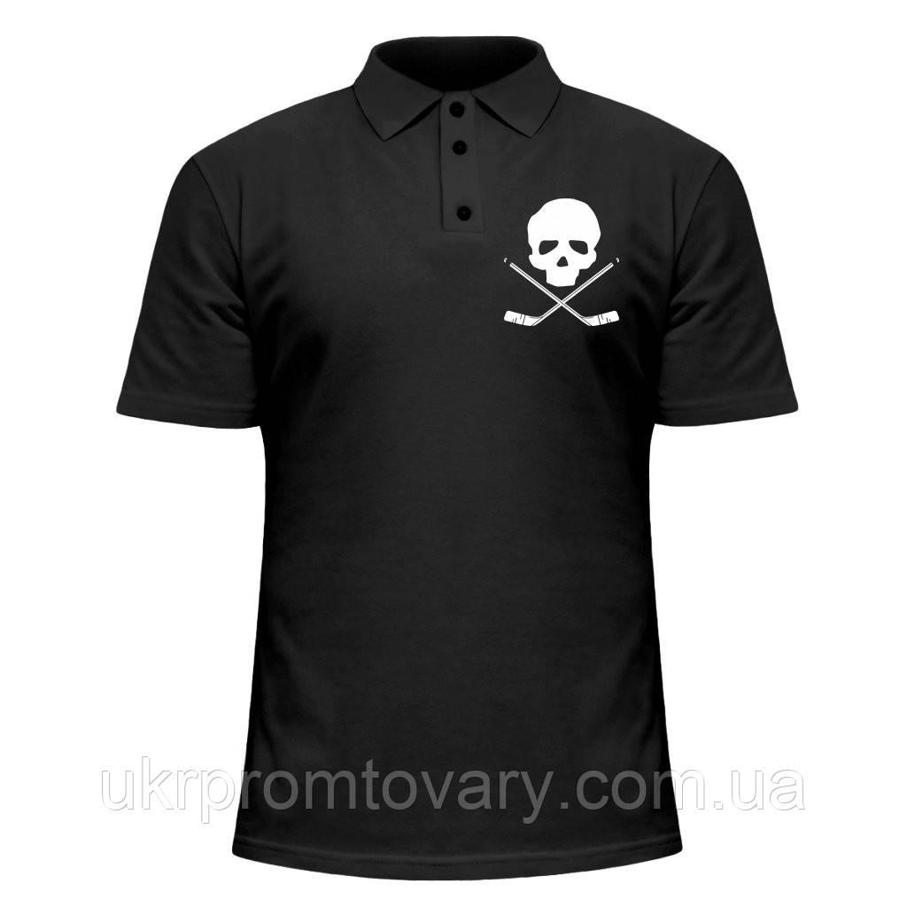 Мужская футболка Поло - Hockey skull, отличный подарок купить со скидкой, недорого
