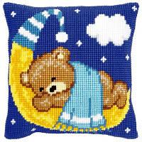 """Набор для вышивки крестом """"Подушка """"Голубой мишка на луне"""""""