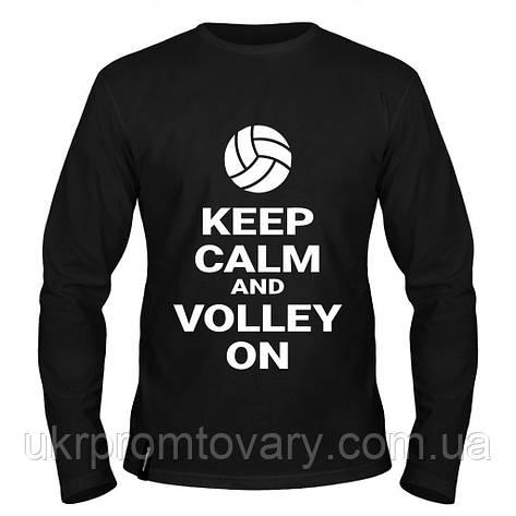 Лонгслив мужской - Keep calm and volley on, отличный подарок купить со скидкой, недорого, фото 2