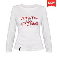 Лонгслив женский - Skate all citi, отличный подарок купить со скидкой, недорого