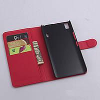 Чехол для Lenovo A7000 / K3 Note / K50 книжка кожа PU красный