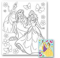 Холст с контуром 'Принцессы' (25см*30см) с красками