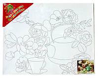 Холст с контуром 'Чайные розы' (30см*40см)