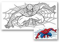 Холст с контуром 'Человек-паук' (15см*30см) с красками