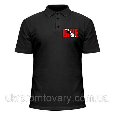 Мужская футболка Поло - Dive red, отличный подарок купить со скидкой, недорого, фото 2