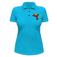 Женская футболка Поло - Мишка, отличный подарок купить со скидкой, недорого