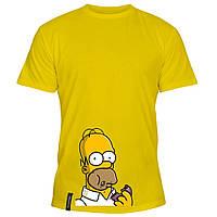 Мужская футболка - Гомер и пончик, отличный подарок купить со скидкой, недорого