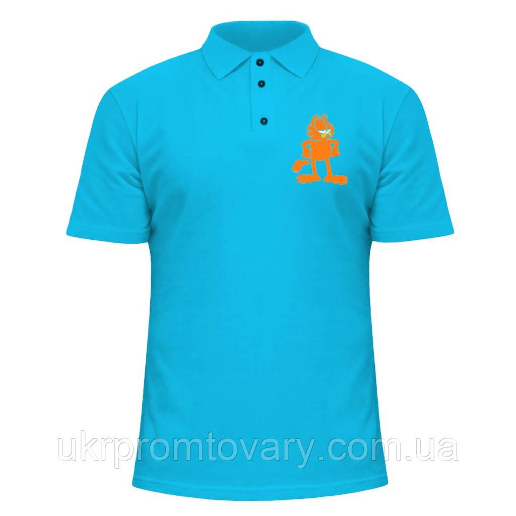 Мужская футболка Поло - Гарфилд, отличный подарок купить со скидкой, недорого