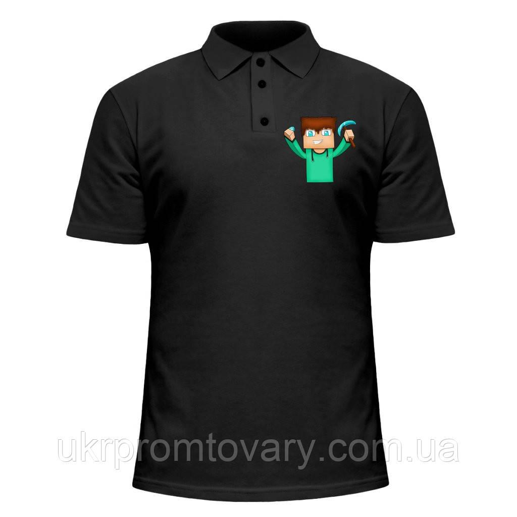 Мужская футболка Поло - Майнкрафт 3, отличный подарок купить со скидкой, недорого