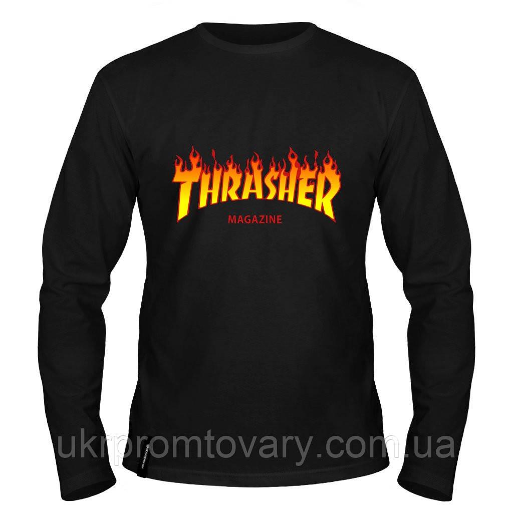 Лонгслив мужской - thrasher  fire, отличный подарок купить со скидкой, недорого