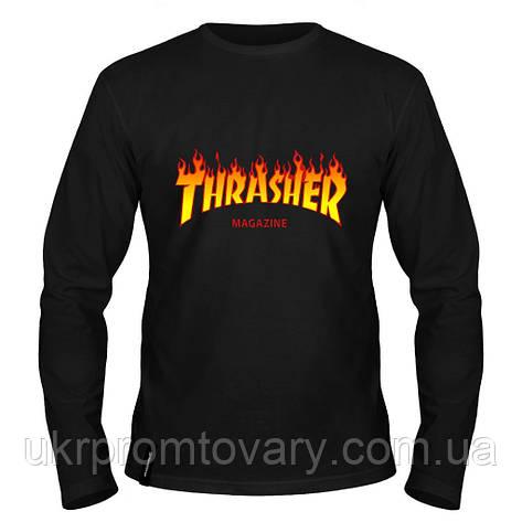 Лонгслив мужской - thrasher  fire, отличный подарок купить со скидкой, недорого, фото 2