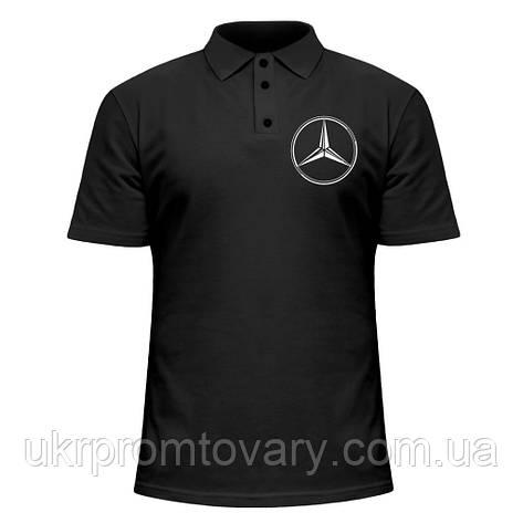 Мужская футболка Поло - Мерседес Бенц значек, отличный подарок купить со скидкой, недорого, фото 2