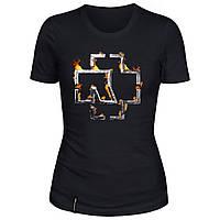 Женская футболка - Rammstein в огне, отличный подарок купить со скидкой, недорого