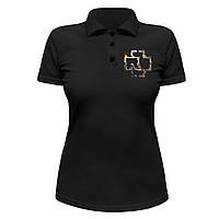 Женская футболка Поло - Rammstein в огне, отличный подарок купить со скидкой, недорого