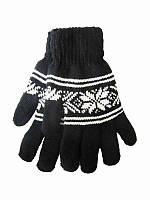 Перчатки мужские Снежинка черные (Шерстяные перчатки)