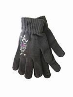 Перчатки подростковые Цветок (с камешками) (Шерстяные перчатки)