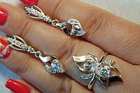 Набор из серебра с золотом - кольцо и серьги
