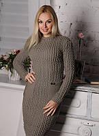 Теплое удобное приталенное женское платье цвет капучино.