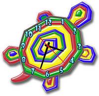 Часы настенные фигурные 30*30 см - Радужная черепашка 3D фотопечать