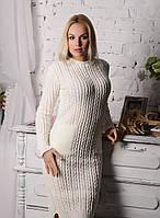 Нежное белое вязаное приталенное теплое женское платье.