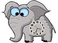 Часы настенные фигурные 30*40 см - Слоненок 3D фотопечать