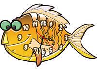 Часы настенные фигурные 30*40 см - Веселая рыбка 3D фотопечать