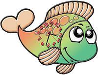 Часы настенные фигурные 30*40 см - Влюбленная рыбка 3D фотопечать