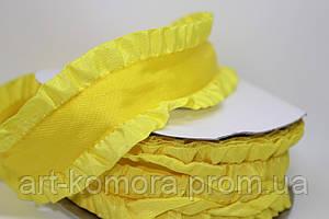 Лента декоративная с рюшей, желтая, 4 см