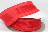 Лента декоративная с рюшей, красная, 4 см