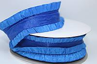 Лента декоративная с рюшей, синяя, 4 см
