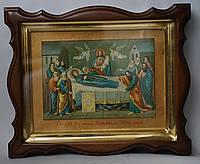 """Киот из ольхи с золочёной рамкой для литографии """"Успение Пресвятой Богородицы""""."""