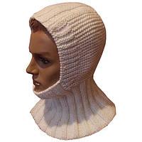 Мужская вязаная спицами шапка - шлем с манишкой