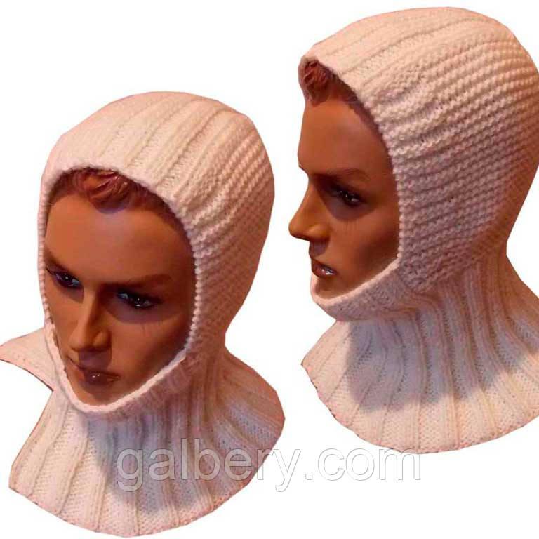 Мужская вязаная спицами шапка - шлем с манишкой: продажа ...