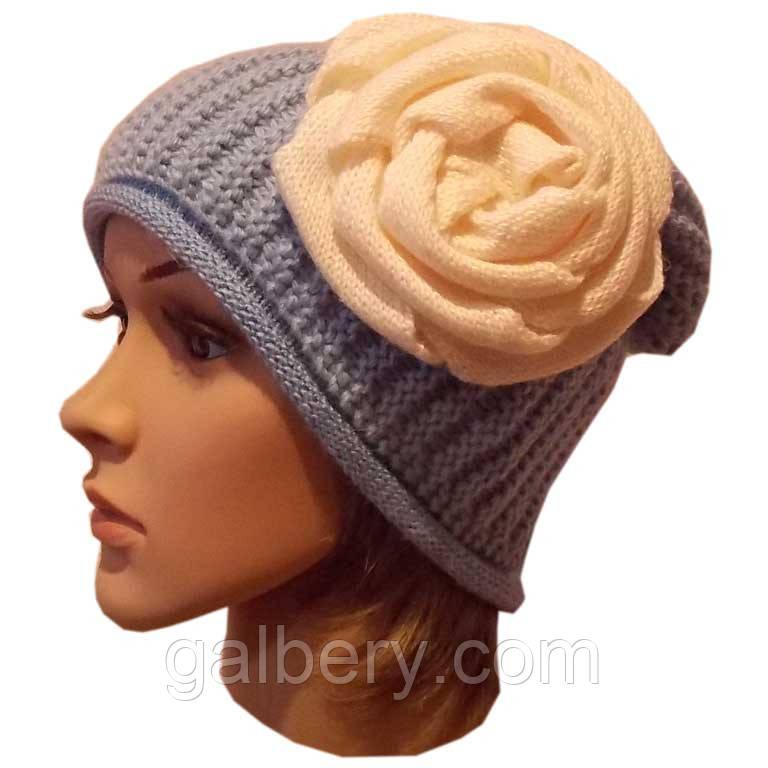 Женская вязаная шапка - носок ( утепленный вариант), объемной ручной вязки