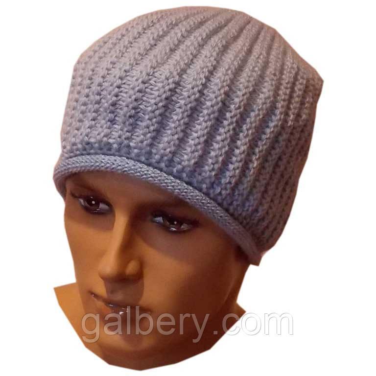 Мужская вязаная шапка - носок ( утепленный вариант), объемной ручной вязки