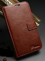 Кожаный чехол-книжка для Samsung Galaxy S4 i9500 коричневый