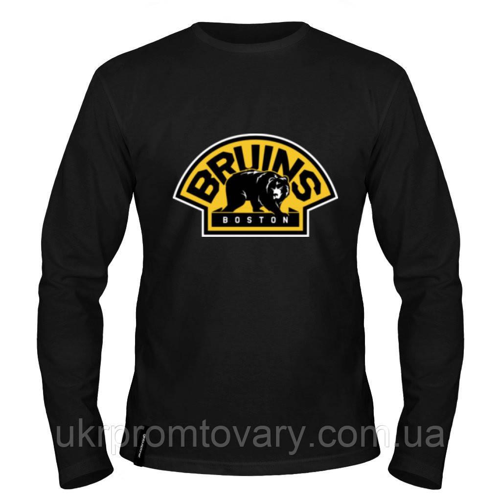 Лонгслив мужской - The Boston Bruins, отличный подарок купить со скидкой, недорого
