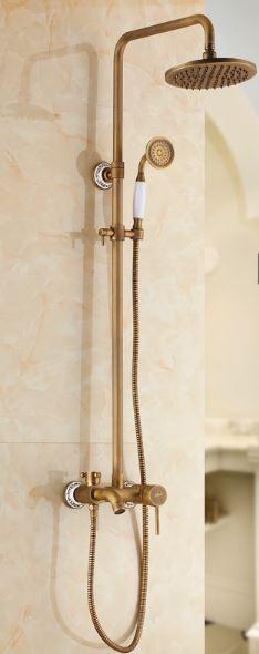 Душевая стойка для ванной комнаты со смесителем краном лейкой и верхним душем бронза