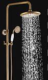 Душевая стойка для ванной комнаты со смесителем краном лейкой и верхним душем бронза, фото 4