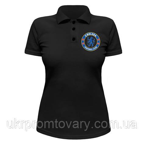 Женская футболка Поло - Chelsea logo, отличный подарок купить со скидкой, недорого, фото 2