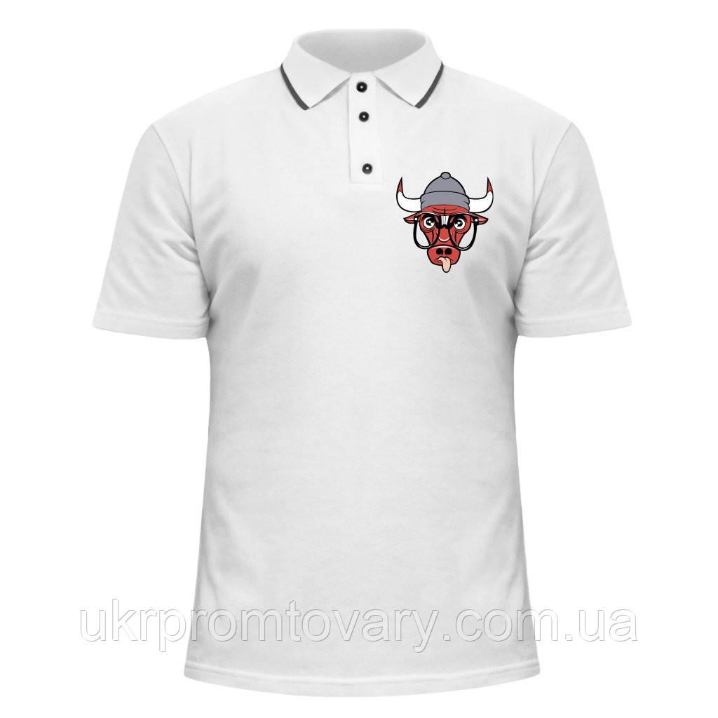 Мужская футболка Поло - Bulls в очках, отличный подарок купить со скидкой, недорого
