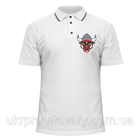 Мужская футболка Поло - Bulls в очках, отличный подарок купить со скидкой, недорого, фото 2