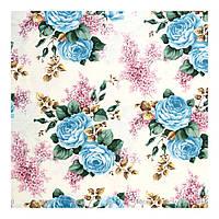 Ткань хлопок голубые цветы розы