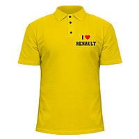 Мужская футболка Поло - Я люблю Рено, отличный подарок купить со скидкой, недорого