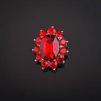 "Брошь Маркиз красный кристалл, стразы  цвет металла ""серебро"" 3х2,5см"