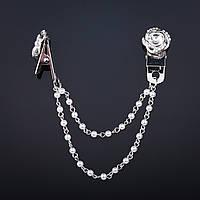 """Брошь зажим для кардиганов декор Роза 2см белый кристалл цвет """"серебро"""" цепочка жемчуг 8см"""
