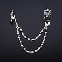 """Брошь зажим для кардиганов декор Цветок1,8см  с синим кристаллом цвет металла """"серебро"""" цепочка 8см"""